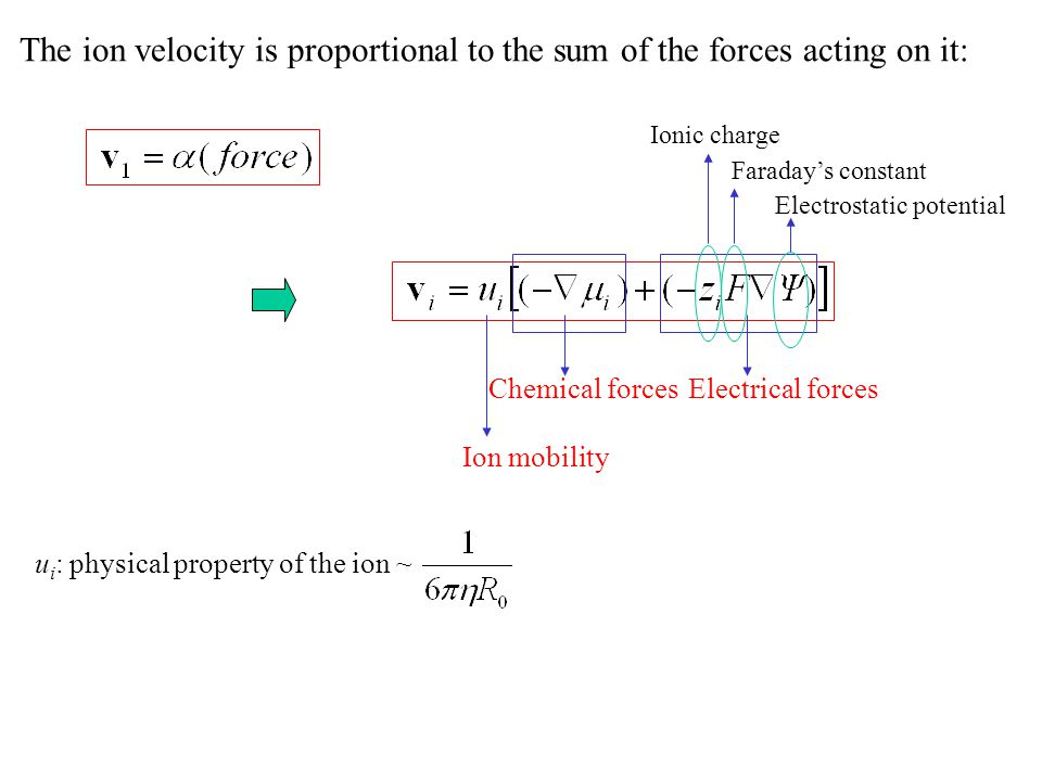 The ion velocity is proportional to the sum of the forces acting on it: Ion mobility Chemical forcesElectrical forces Ionic charge Faraday's constant Electrostatic potential u i : physical property of the ion ~