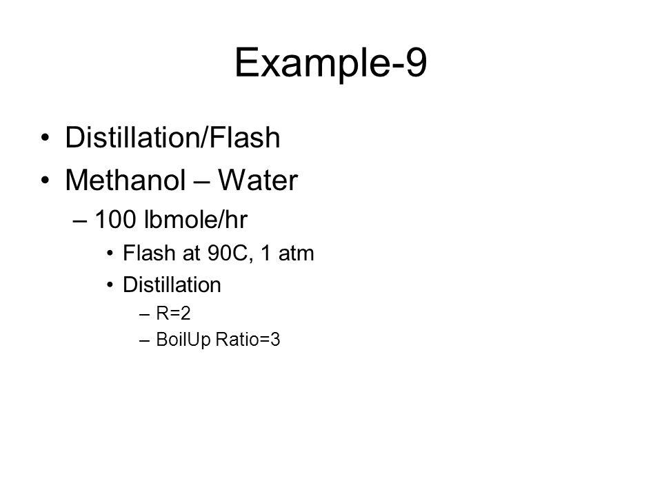 Example-9 Distillation/Flash Methanol – Water –100 lbmole/hr Flash at 90C, 1 atm Distillation –R=2 –BoilUp Ratio=3