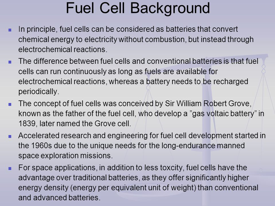 Fuel cells are classified primarily according to the nature of the eletrolyte.