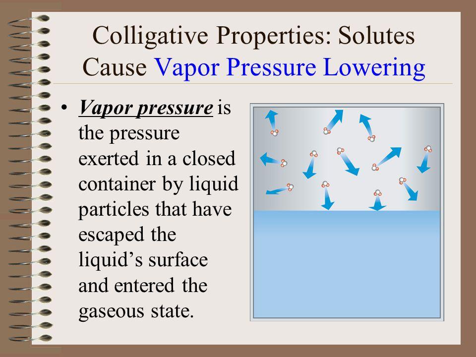 Colligative Properties: Solutes Cause Vapor Pressure Lowering Vapor pressure is the pressure exerted in a closed container by liquid particles that have escaped the liquid's surface and entered the gaseous state.
