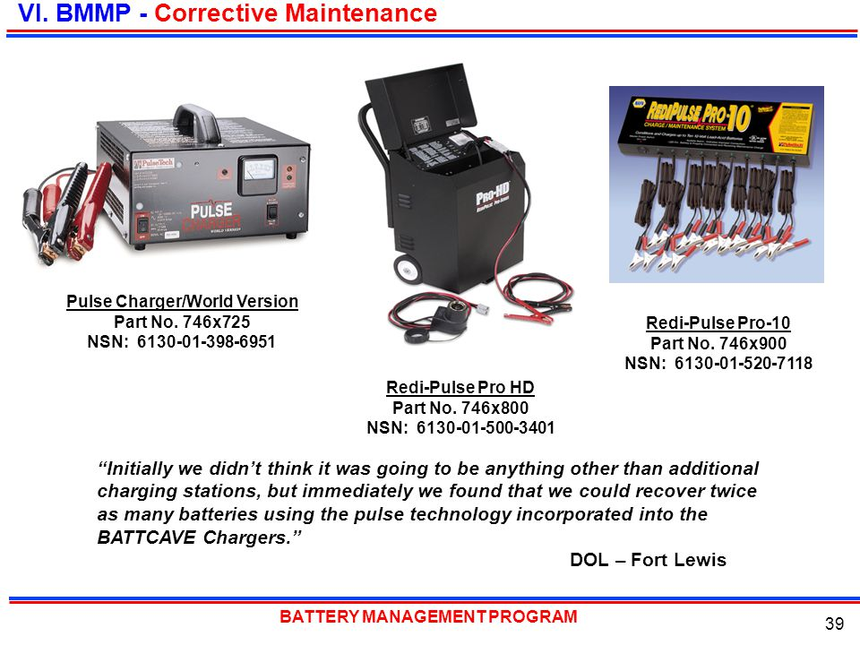 BATTERY MANAGEMENT PROGRAM 39 VI. BMMP - Corrective Maintenance Pulse Charger/World Version Part No. 746x725 NSN: 6130-01-398-6951 Redi-Pulse Pro HD P