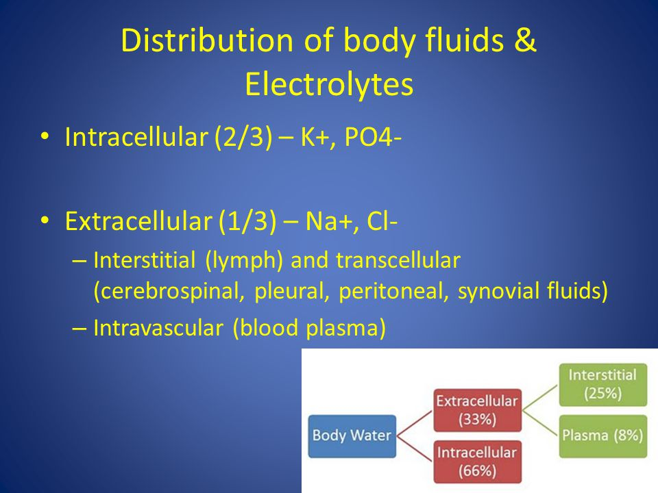 Distribution of body fluids & Electrolytes Intracellular (2/3) – K+, PO4- Extracellular (1/3) – Na+, Cl- – Interstitial (lymph) and transcellular (cer