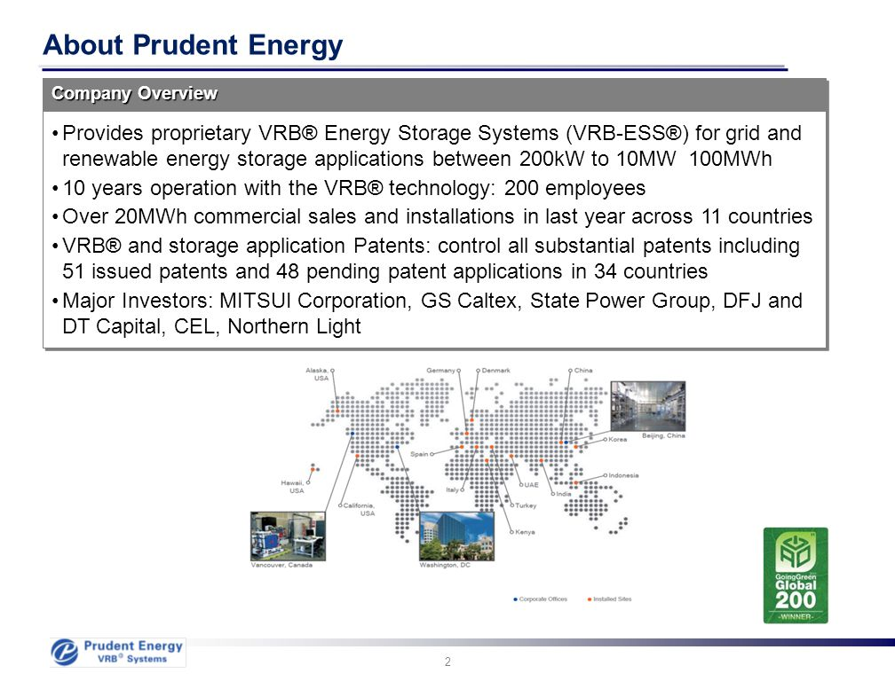 2 About Prudent Energy Provides proprietary VRB® Energy Storage Systems (VRB-ESS®) for grid and renewable energy storage applications between 200kW to