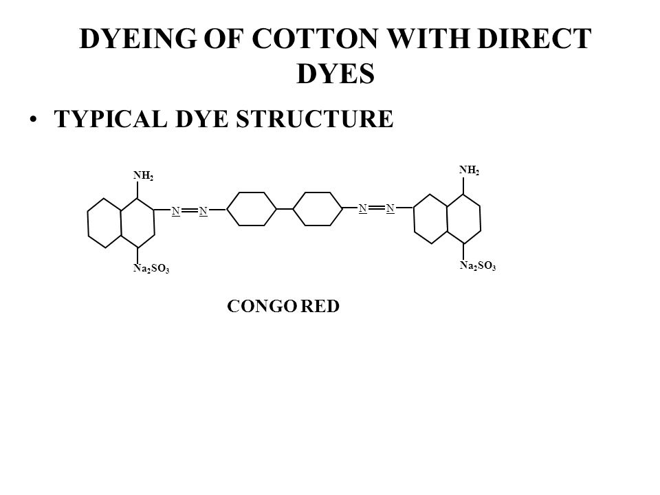 DYEING OF COTTON WITH DIRECT DYES TYPICAL DYE STRUCTURE CONGO RED NN NN NH 2 Na 2 SO 3 NH 2