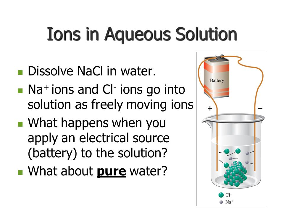 Ions in Aqueous Solution Dissolve NaCl in water. Dissolve NaCl in water.
