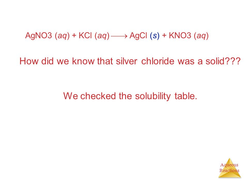 Aqueous Reactions AgNO3 (aq) + KCl (aq)  AgCl (s) + KNO3 (aq) How did we know that silver chloride was a solid??? We checked the solubility table.