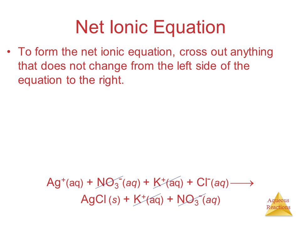 Aqueous Reactions Net Ionic Equation To form the net ionic equation, cross out anything that does not change from the left side of the equation to the