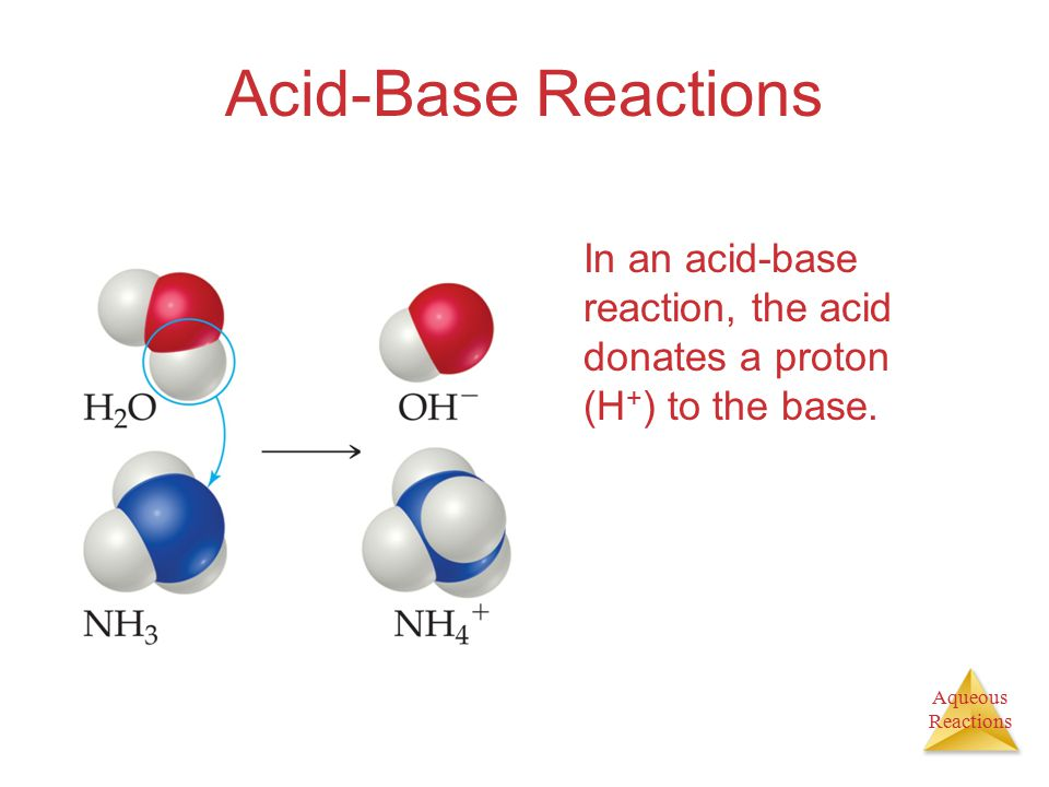 Aqueous Reactions Acid-Base Reactions In an acid-base reaction, the acid donates a proton (H + ) to the base.