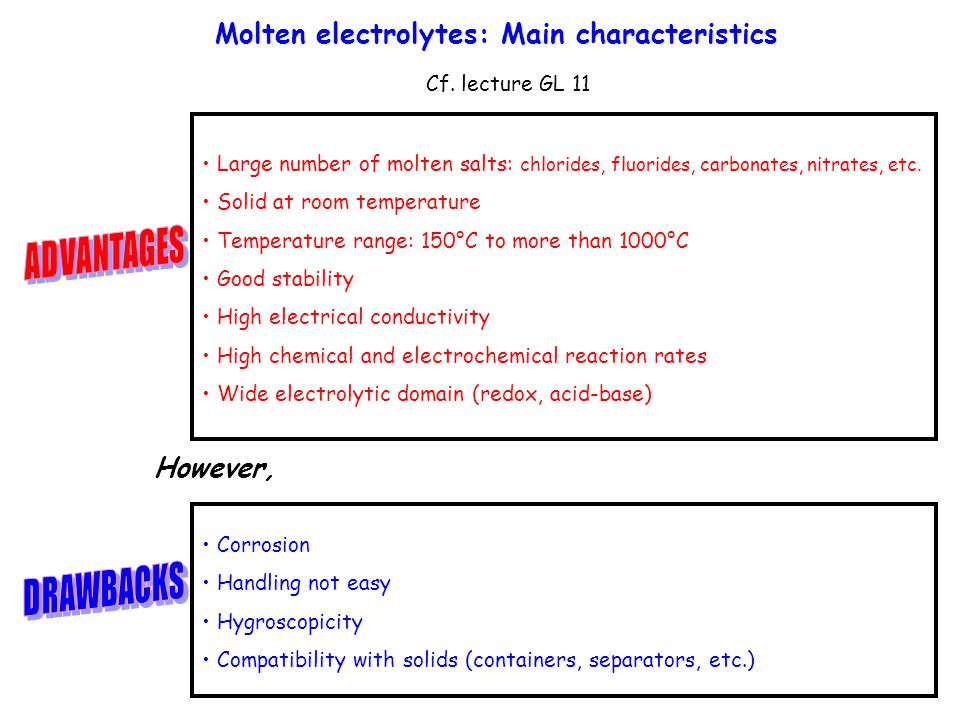 M olten electrolytes: Main characteristics Cf. lecture GL 11 Large number of molten salts: chlorides, fluorides, carbonates, nitrates, etc. Solid at r