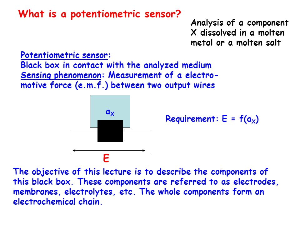 What is a potentiometric sensor? Analysis of a component X dissolved in a molten metal or a molten salt Potentiometric sensor: Black box in contact wi
