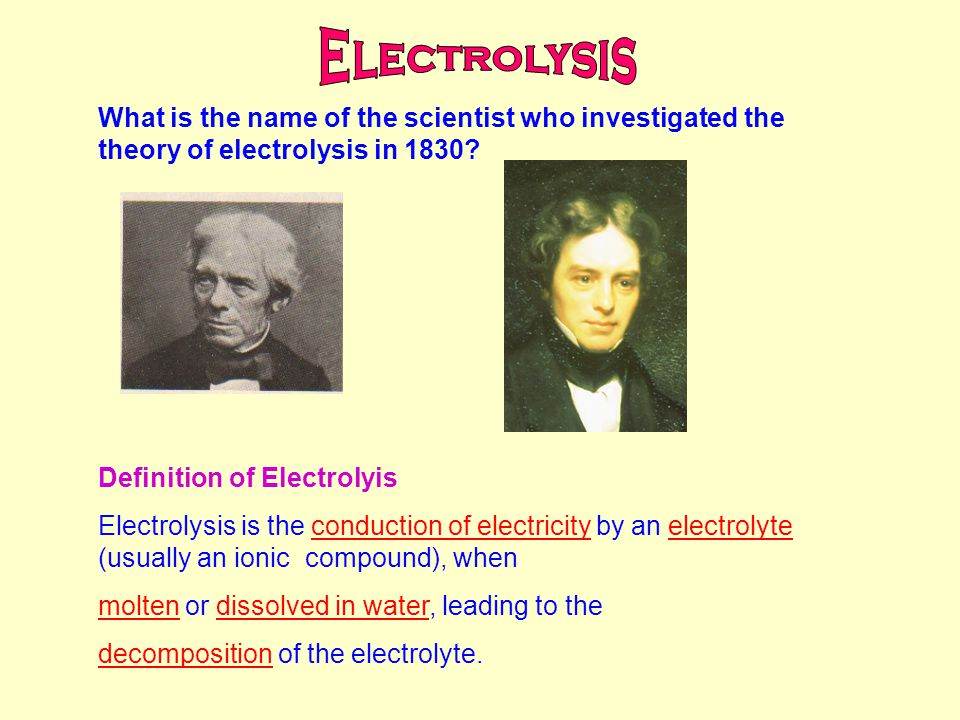 What is the name of the scientist who investigated the theory of electrolysis in 1830.