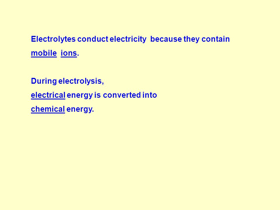 Electrolytes Electrolytes is a compound in solution or molten state that conducts electricity with the decomposition at the electrodes as it does so.