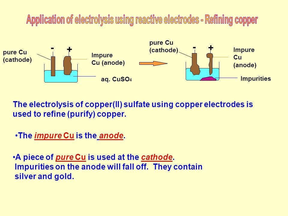 + - pure Cu (cathode) aq. CuSO 4 Impure Cu (anode) + - pure Cu (cathode) Impure Cu (anode) Impurities The electrolysis of copper(II) sulfate using cop