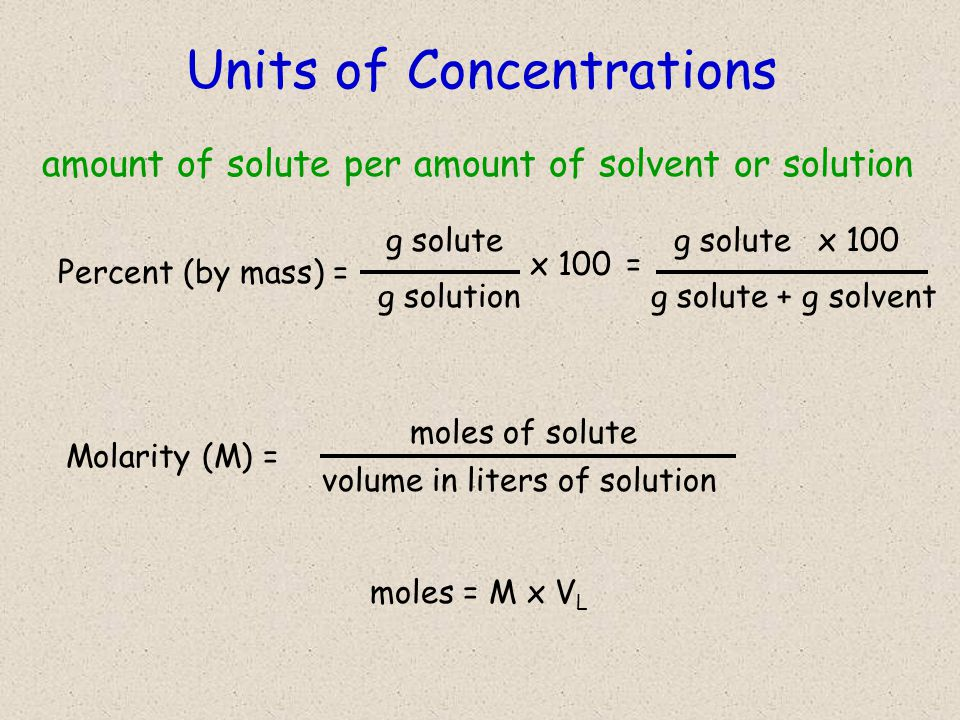 Units of Concentrations amount of solute per amount of solvent or solution Percent (by mass) = g solute g solution x 100 g solute g solute + g solvent x 100 = Molarity (M) = moles of solute volume in liters of solution moles = M x V L