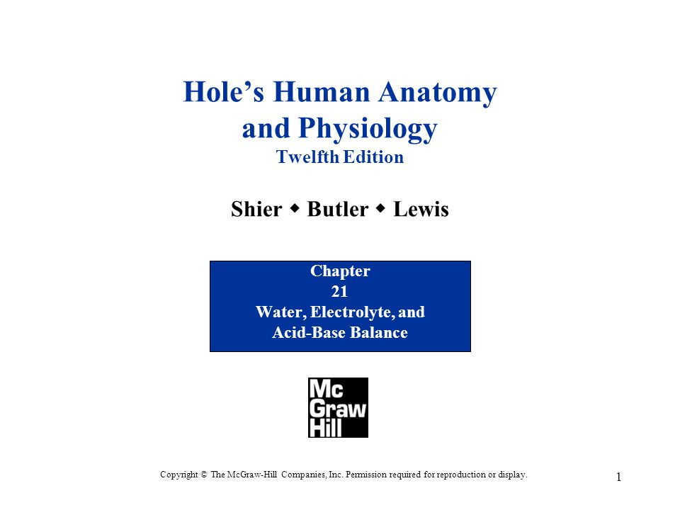 1 Hole's Human Anatomy and Physiology Twelfth Edition Shier  Butler  Lewis Chapter 21 Water, Electrolyte, and Acid-Base Balance Copyright © The McGr