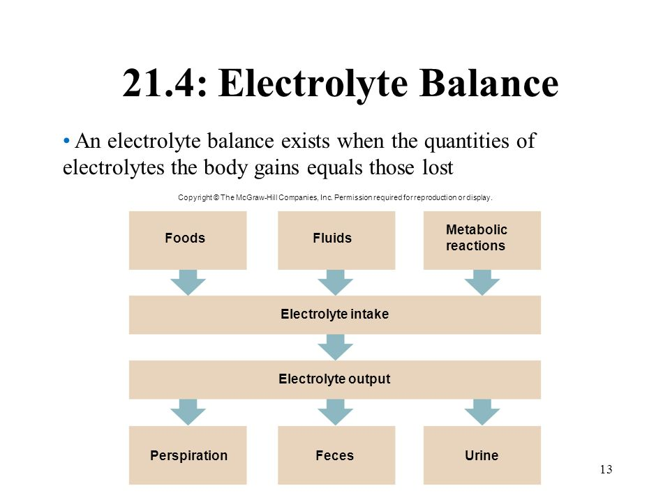 13 21.4: Electrolyte Balance An electrolyte balance exists when the quantities of electrolytes the body gains equals those lost Urine Electrolyte inta