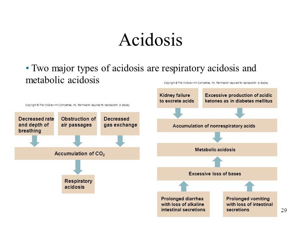 29 Acidosis Two major types of acidosis are respiratory acidosis and metabolic acidosis Accumulation of CO 2 Respiratory acidosis Decreased rate and d