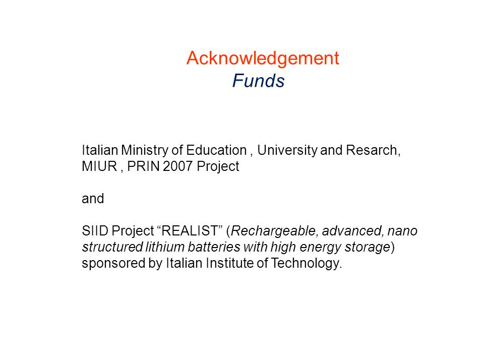"""Italian Ministry of Education, University and Resarch, MIUR, PRIN 2007 Project and SIID Project """"REALIST"""" (Rechargeable, advanced, nano structured lit"""