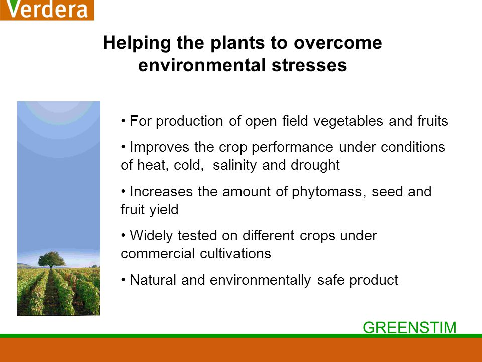 GREENSTIM Helping the plants to overcome environmental stresses For production of open field vegetables and fruits Improves the crop performance under conditions of heat, cold, salinity and drought Increases the amount of phytomass, seed and fruit yield Widely tested on different crops under commercial cultivations Natural and environmentally safe product