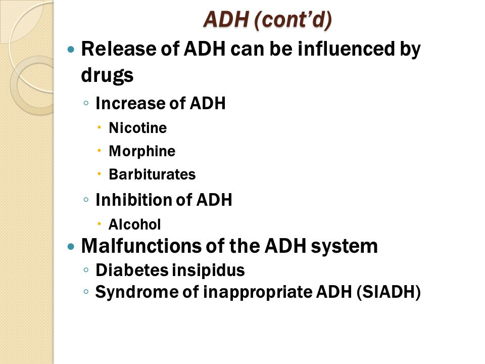 ADH (cont'd) Release of ADH can be influenced by drugs ◦ Increase of ADH  Nicotine  Morphine  Barbiturates ◦ Inhibition of ADH  Alcohol Malfunctions of the ADH system ◦ Diabetes insipidus ◦ Syndrome of inappropriate ADH (SIADH)