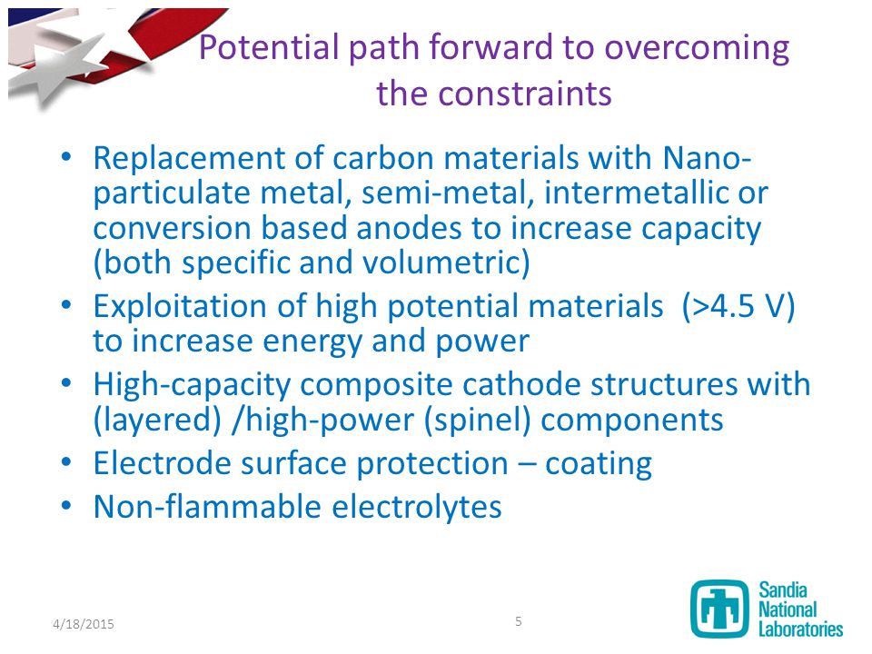Potential path forward to overcoming the constraints Replacement of carbon materials with Nano- particulate metal, semi-metal, intermetallic or conver
