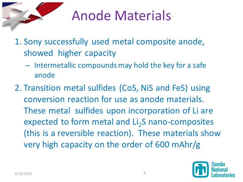 1.Sony successfully used metal composite anode, showed higher capacity – Intermetallic compounds may hold the key for a safe anode 2.Transition metal