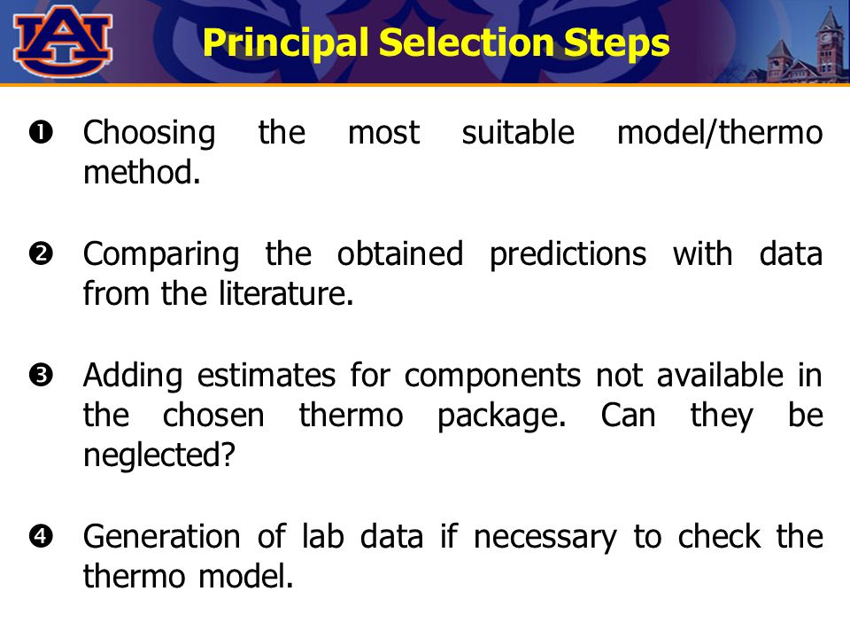 Principal Selection Steps  Choosing the most suitable model/thermo method.  Comparing the obtained predictions with data from the literature.  Addi