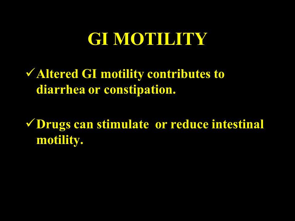 GI MOTILITY Altered GI motility contributes to diarrhea or constipation.