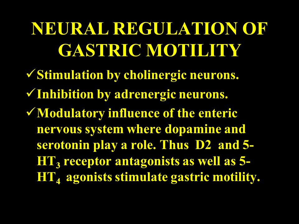 NEURAL REGULATION OF GASTRIC MOTILITY Stimulation by cholinergic neurons.