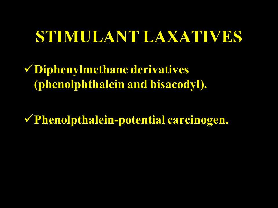 STIMULANT LAXATIVES Diphenylmethane derivatives (phenolphthalein and bisacodyl). Phenolpthalein-potential carcinogen.