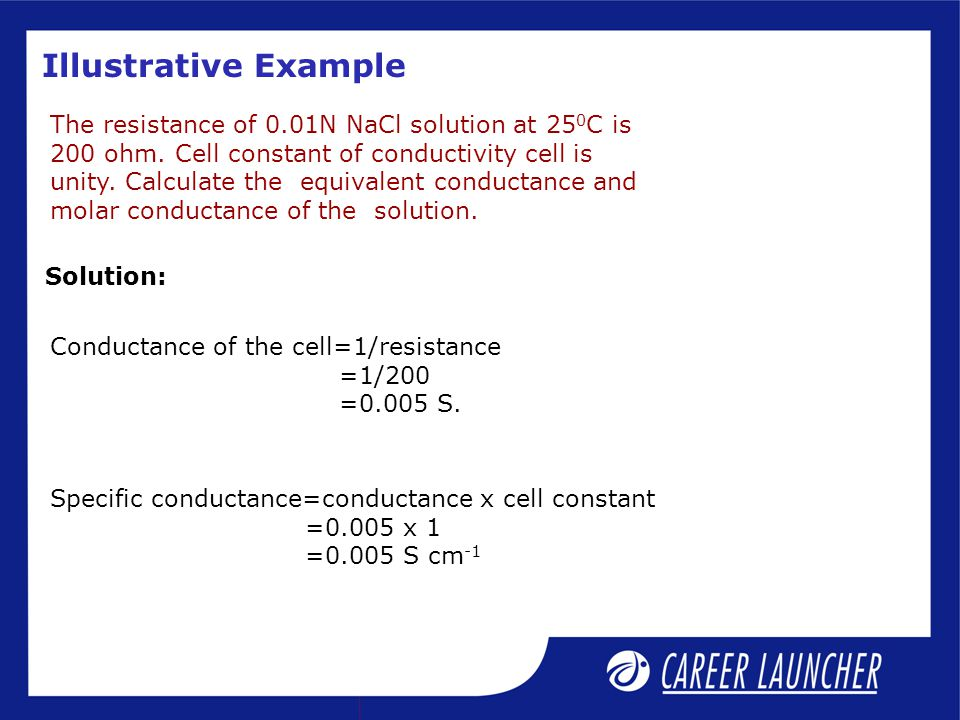 Illustrative Example The resistance of 0.01N NaCl solution at 25 0 C is 200 ohm. Cell constant of conductivity cell is unity. Calculate the equivalent