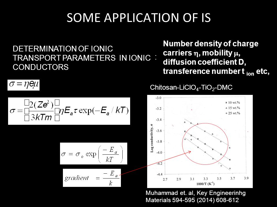 SOME APPLICATION OF IS DETERMINATION OF IONIC TRANSPORT PARAMETERS IN IONIC CONDUCTORS : Number density of charge carriers , mobility , diffusion co