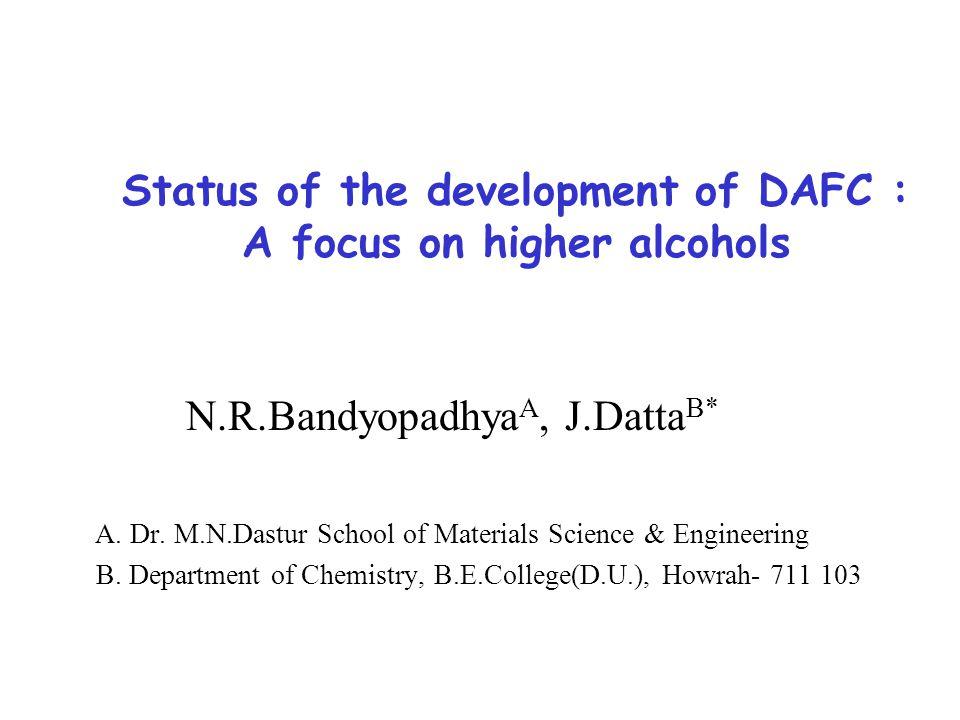 Status of the development of DAFC : A focus on higher alcohols N.R.Bandyopadhya A, J.Datta B* A.