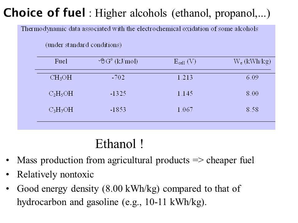 Choice of fuel : Higher alcohols (ethanol, propanol,...) Ethanol .