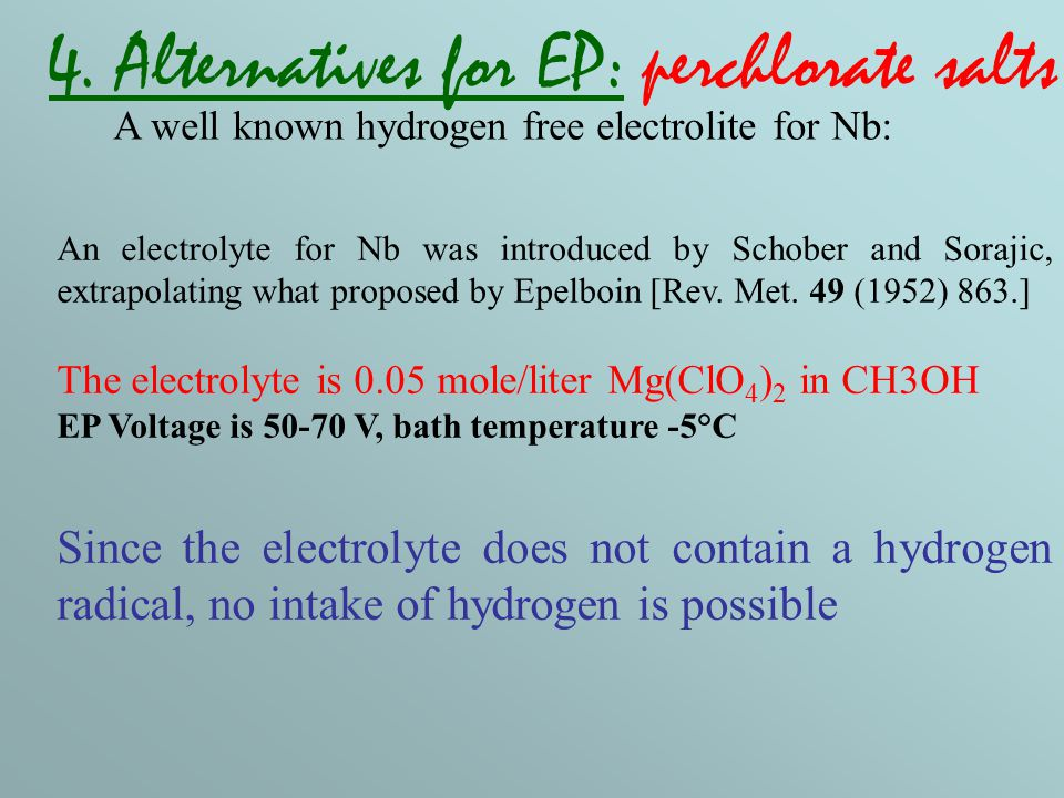 An electrolyte for Nb was introduced by Schober and Sorajic, extrapolating what proposed by Epelboin [Rev.