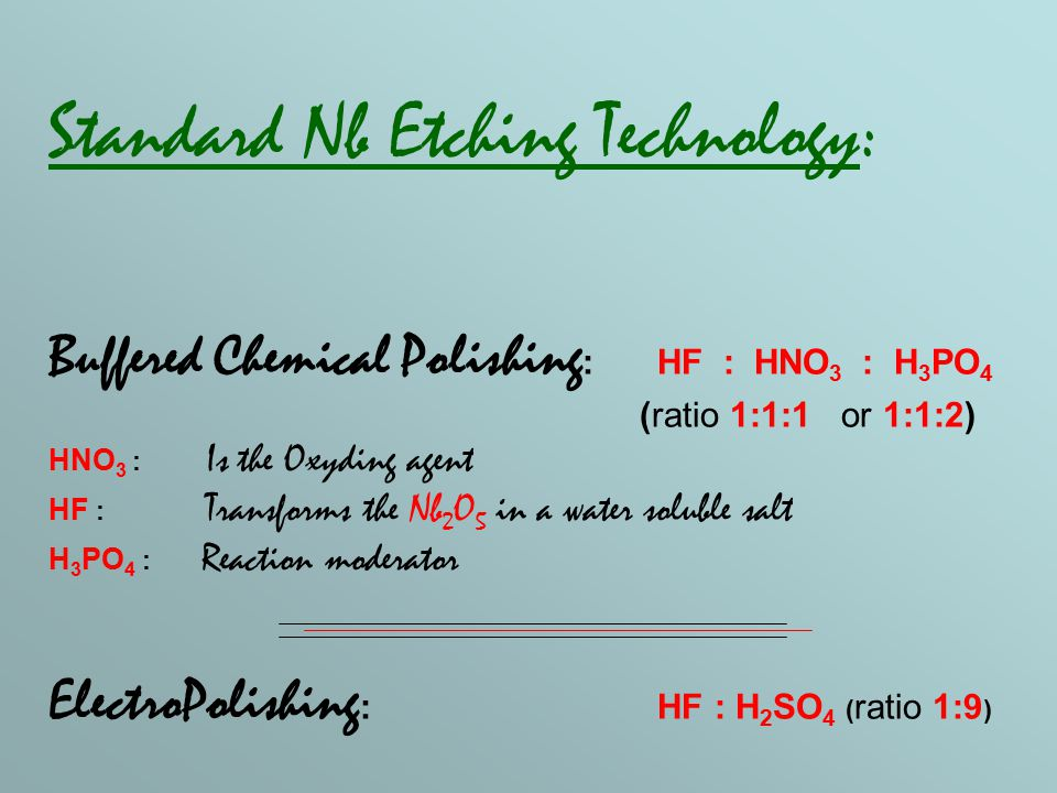 Alternatives for BCP: Standard BCP : HF : HNO 3 : H 3 PO 4 Modified BCP : HF : HNO 3 : H 2 SO 4 (ratio 1:1:2) at 78°C Y.