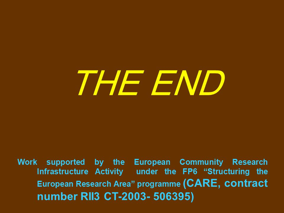 THE END Work supported by the European Community Research Infrastructure Activity under the FP6 Structuring the European Research Area programme (CARE, contract number RII3 CT-2003- 506395)