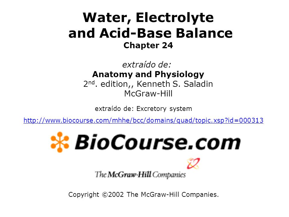 Copyright ©2002 The McGraw-Hill Companies. Water, Electrolyte and Acid-Base Balance Chapter 24 extraído de: Anatomy and Physiology 2 nd. edition,, Ken