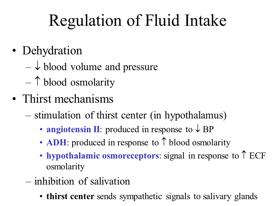 Regulation of Fluid Intake Dehydration –  blood volume and pressure –  blood osmolarity Thirst mechanisms –stimulation of thirst center (in hypothal