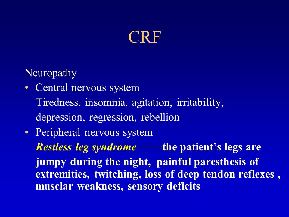 CRF Renal osteodystrophy  Type I: high turn-over bone disease  Type II: low turn-over bone disease  Type III: mixture