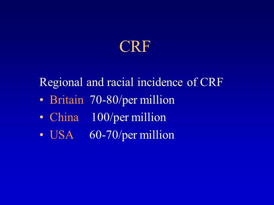CRF Etiology diabetic nephropathy, hypertensive glomerular sclerosis, chronic GN chronic GN, obstructive nephropathy, diabetic nephropathy overseas china