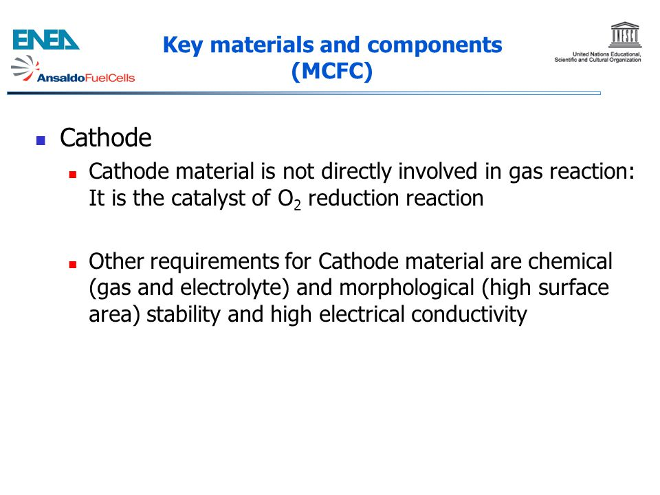 Cathode Cathode material is not directly involved in gas reaction: It is the catalyst of O 2 reduction reaction Other requirements for Cathode materia