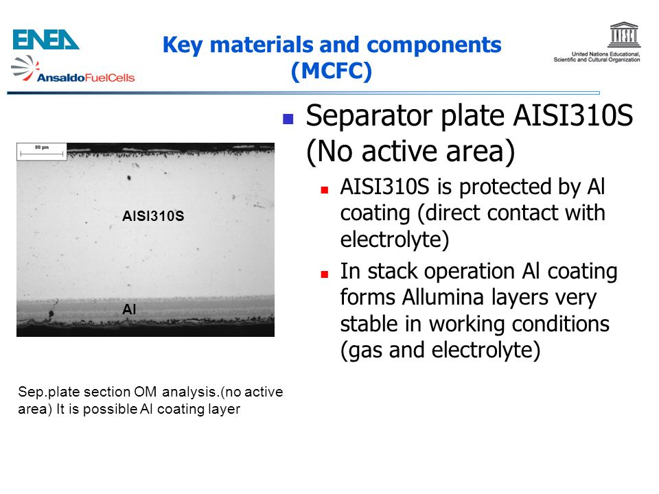 Key materials and components (MCFC) Separator plate AISI310S (No active area) AISI310S is protected by Al coating (direct contact with electrolyte) In