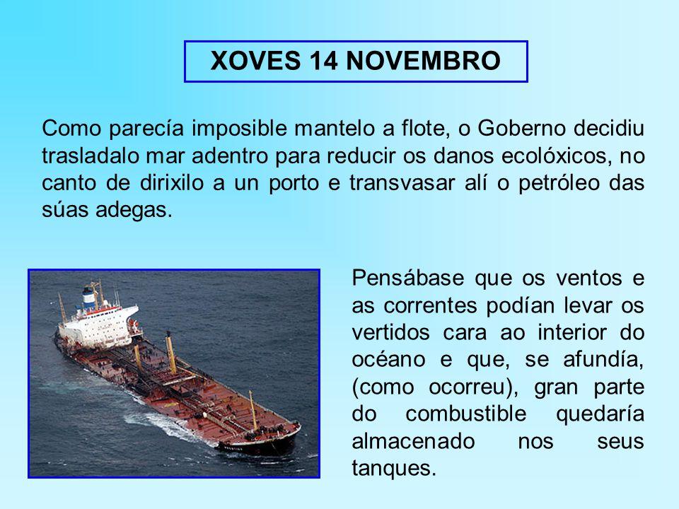 Como parecía imposible mantelo a flote, o Goberno decidiu trasladalo mar adentro para reducir os danos ecolóxicos, no canto de dirixilo a un porto e transvasar alí o petróleo das súas adegas.