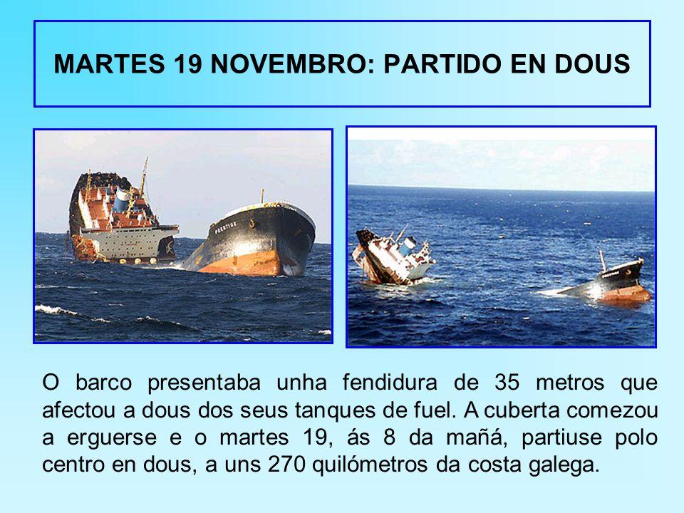 MARTES 19 NOVEMBRO: PARTIDO EN DOUS O barco presentaba unha fendidura de 35 metros que afectou a dous dos seus tanques de fuel.