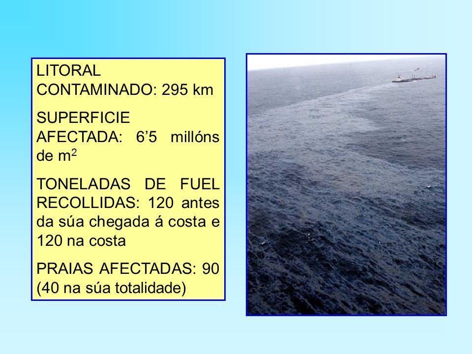 LITORAL CONTAMINADO: 295 km SUPERFICIE AFECTADA: 6'5 millóns de m 2 TONELADAS DE FUEL RECOLLIDAS: 120 antes da súa chegada á costa e 120 na costa PRAIAS AFECTADAS: 90 (40 na súa totalidade)