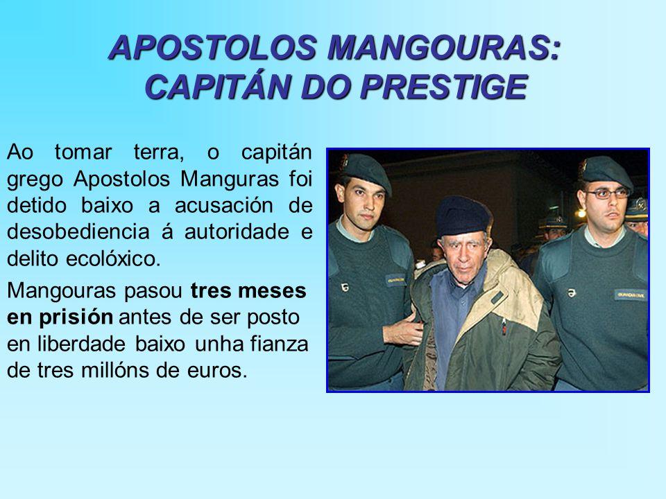 APOSTOLOS MANGOURAS: CAPITÁN DO PRESTIGE Ao tomar terra, o capitán grego Apostolos Manguras foi detido baixo a acusación de desobediencia á autoridade e delito ecolóxico.