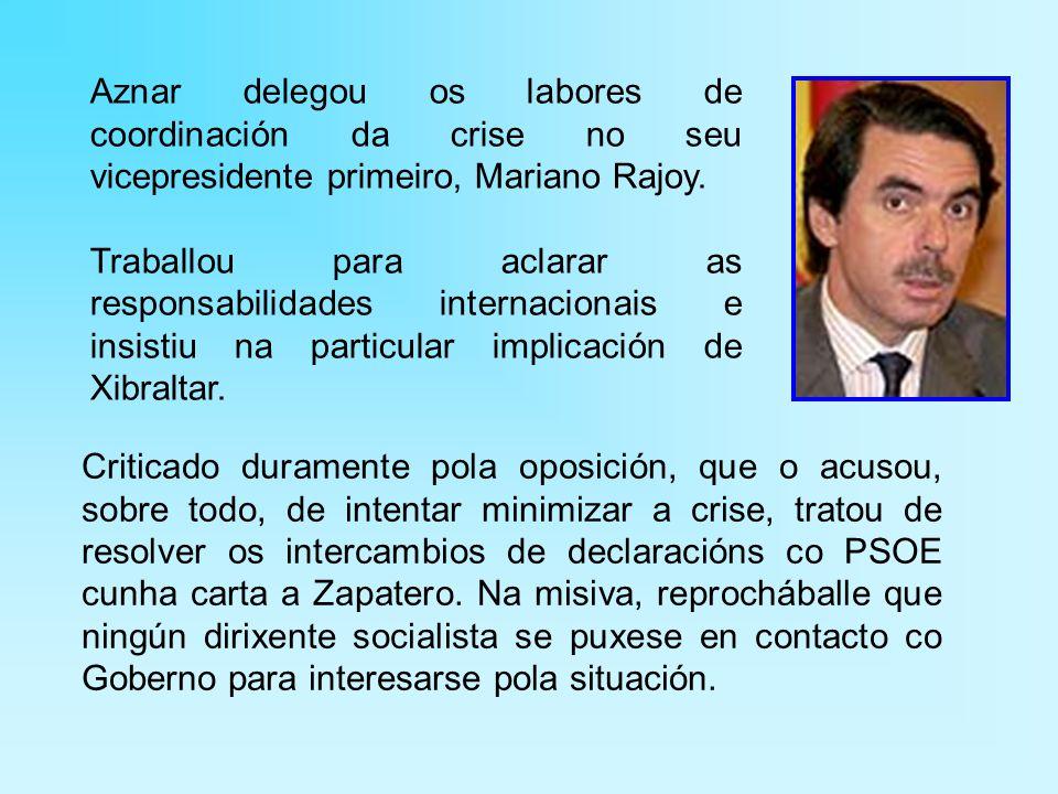Aznar delegou os labores de coordinación da crise no seu vicepresidente primeiro, Mariano Rajoy.