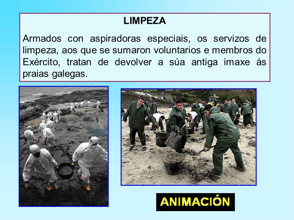 LIMPEZA Armados con aspiradoras especiais, os servizos de limpeza, aos que se sumaron voluntarios e membros do Exército, tratan de devolver a súa antiga imaxe ás praias galegas.