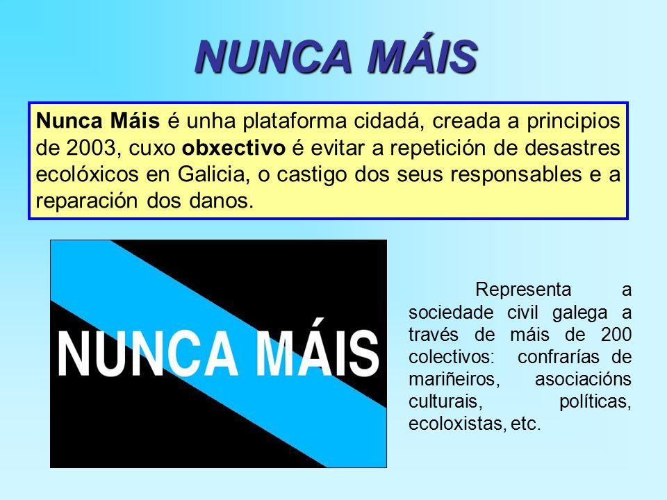 NUNCA MÁIS Nunca Máis é unha plataforma cidadá, creada a principios de 2003, cuxo obxectivo é evitar a repetición de desastres ecolóxicos en Galicia, o castigo dos seus responsables e a reparación dos danos.